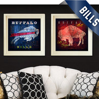 """Buffalo Bills City Maps - 2-Point Play Combo Prints - """"Shout"""" Fight Song - Perfect Valentines, Birthday, Anniversary Gift - Unframed Prints"""