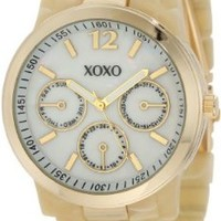 XOXO Women's XO5512 Horn Color Bracelet with Gold Case Watch