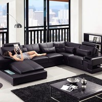 Divani Casa Diamond - Modern Black Eco-Leather Sectional Sofa