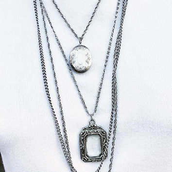 Chatelaine Necklace  - Locket and Faceted Glass Pendant Silver Tone Vintage