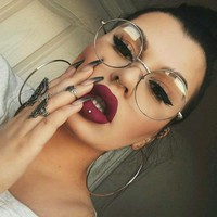 Round Gold Clear Glasses Myopia Clear Frame Glasses Women Men Spectacle Eyewear Frame Clear Lens Optical Gold Glasses Lunette
