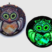 Glow in the dark Owl Millefiore Blacklight wall art  Miniature in Ivory, gold, brown and bronze EyeGloArts #o3