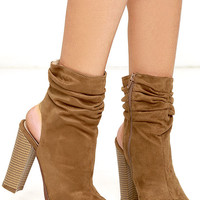 Only the Latest Tan Suede Peep-Toe Booties