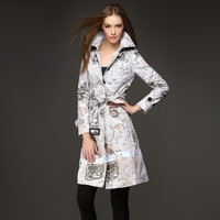Map printed long high V Neck single breasted Sashes Adjustable Waist slim ladies skirt style women trench coat femme FY9863