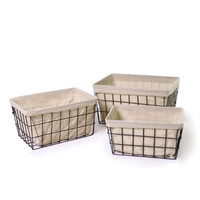 Iron Wire Rectangular Baskets (Set of 3)