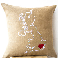 Burlap Pillows Country Map Cushion Personalized Embroidered Cushion Cover Monogrammed