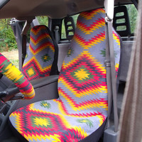 1 Set of Desert Valley Grey Print Seat Covers and the  Steering Wheel Cover  Custom Made.