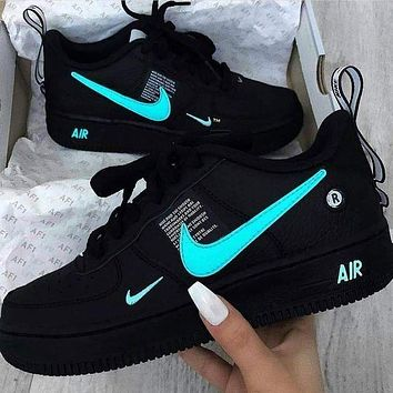 NIKE AIR FORCE 1 Tide brand simplified version OW low-top shoes blue hook