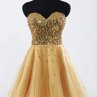 Shiny Gold Sequins Ball Gown Sweetheart Neckline Mini Homecoming Dress with Lace-up