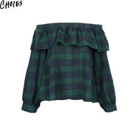 Women Green Plaid Off Shoulder Sexy Ruffle Long Sleeve Casual Blouses 2016 New Fashion Vintage Slash Neck Cute Cotton Loose Tops