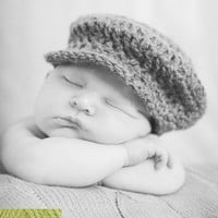 Baby Girl Boy Unisex Newborn Crochet Driver Flat Cap Hat Newsboy  Photo Prop Meadow Green