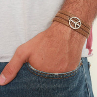 Men's Bracelet - Brown Fabric Bracelet With Silver Plated Peace Sign - Men's Jewelry - Peace Jewelry - Symbol Jewelry - Gift for Him