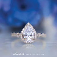 2.70 ct.tw Art Deco Ring-Halo Engagement Ring-Pear Cut Diamond Simulants-Bridal Ring-Wedding Ring-Promise Ring-Sterling Silver [6253-1]