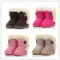 2016 New children snow boots fur winter girls Children Thicken Shoes For baby Kids child snow boots 5 colour [8384306823]