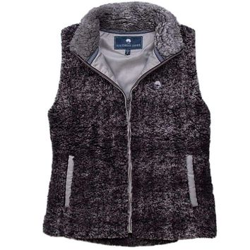 Heathered Zip Sherpa Vest in Phantom by The Southern Shirt Co.