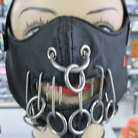 Hannibal Lector Black Leather wired mouth METAL RINGS Horror Mask Gothic