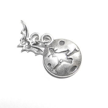 Sterling Moon Witch Halloween Charm Vintage Charm with Dangling Bat Motif