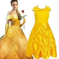 Girls Cartoon Dress Kids Shoulderless Yellow Fancy Dress Children Cosplay Beauty Beast Belle Princess Costumes Party Girls Dress
