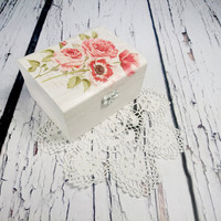MADE ON ORDER Decoupage wooden trinket box bridesmaid gift personalised white red flowers poppies wedding decoupage small box gift for her