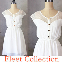 Petit Dejeuner in Cream - Ivory White Lace Illusion Neckline Vintage Inspired Chiffon Dress with Gold Buttons -  XS S M L XL