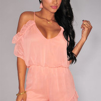 Pink Ruffled Off -Shoulder Romper