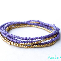 Purple and Gold Seed Bead Stretch Bracelets, Set of Five, Handmade Gift for Her, Ready to Ship Stacking Jewelry