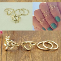 4PCS/Set Cute Urban Crystal Plain Above Knuckle Ring Band Midi Ring Gold/Silver Jewelry New Gift (With Thanksgiving&Christmas Gift Box)= 1705949572