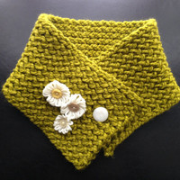 Short Green Knit Scarf with White Flowers