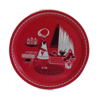 Vintage 1950's Large Red Tin Tray BBQ Stoyke Man in Chef Hat Patio Barbecue Scene Retro Graphics Summer Picnic