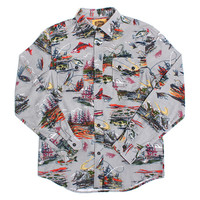 Fly Fishing Flannel Button-Up Shirt Grey