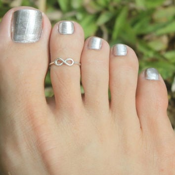 Tiny Infinity Sign Toe Ring/ Knuckle ring , 925 sterling silver Adjustable Ring w. open back...Toe Ring/Knuckle Ring/Pinky Ring/Kids Ring
