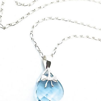 Aquamarine Necklace, Aqua Silver Bow Blue Pendant, March Birthstone Jewelry,