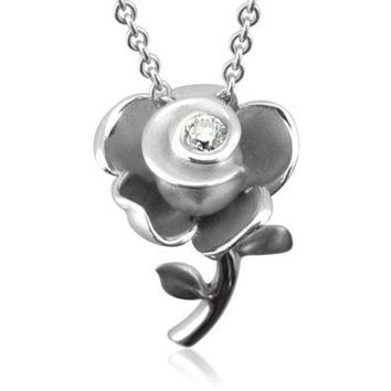 Rose Flower Diamond Pendant Necklace in Sterling Silver (0.10 Carat)