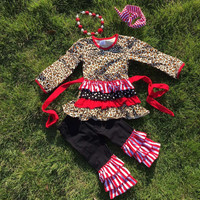 In Stock-Leproad  and polka dot Triple Ruffle Pant Set
