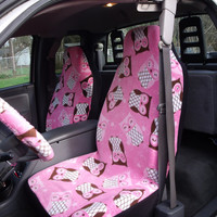 1 Set of Pink Owls Print Seat Covers and 1 pic of Steering Wheel Cover Custom Made
