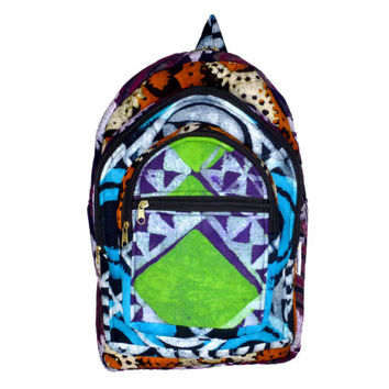 Patchwork BACKPACK - Ghanaian Batik Print - Hippie Festival Bag