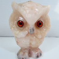 Vintage Owl Tan Candle Kitsch Tan and Grey