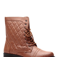 Tan Faux Leather Quilted Lace Up Combat Boots