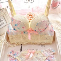 2015 New Arrival Princess Style Sweet Printed Lace Trimming Push Up Sexy Wire Free Women Bra Set Adjustable Underwear Suits