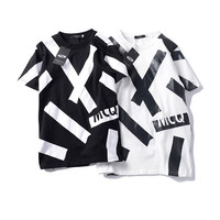 """MCQ"" Fashion Casual Tide Cool Male Female Black White Stripe Letter Print Short Sleeve  Cotton Couple T-shirt"