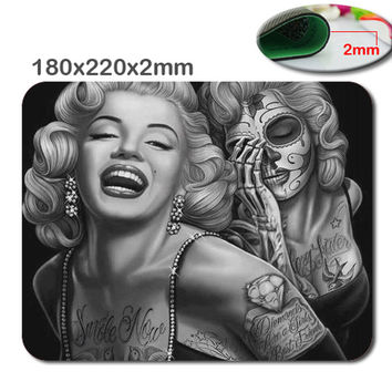 Special Designed for Rectangle Computer Game Mouse Pad Mat With Retro Sugar Skull Girl Image Cloth Cover Non-slip size180X220X2