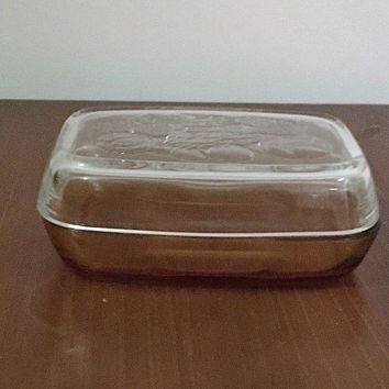 Vintage 1970s Vereco France Amber Glass Butter Dish with a Clear Glass Lid and Fruit and Vegetable Patterns / Retro Glass Amber Bowl