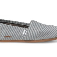 TOMS Movember Grey Strip Wool Women's Classics Slip-On Shoes,