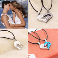 "Deep Love Connection Couple Necklace ""I Love You"" Heart Shape Pendant Fashion Jewelry"