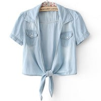 Lace-up Distressed Denim Short Tops