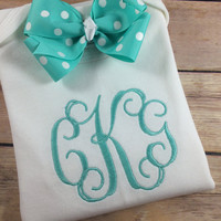 Baby Girl Onesuit OUTFIT, Personalized Monogram Bodysuit, Turquoise Personalized Baby Onesuit Burp Cloth, Initial Monogram Newborn