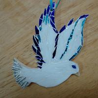 Dove Ornament Stained Glass Mosaic Handmade ooak