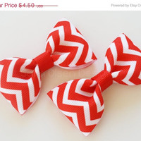ON SALE Chevron Hair Clips, Set of 2 Hair Clips, Simple Bow Tie Tuxedo Hairbows, Pigtails or Toddler Hair, 2 1/2 inch Bow, 2.5, Red White,