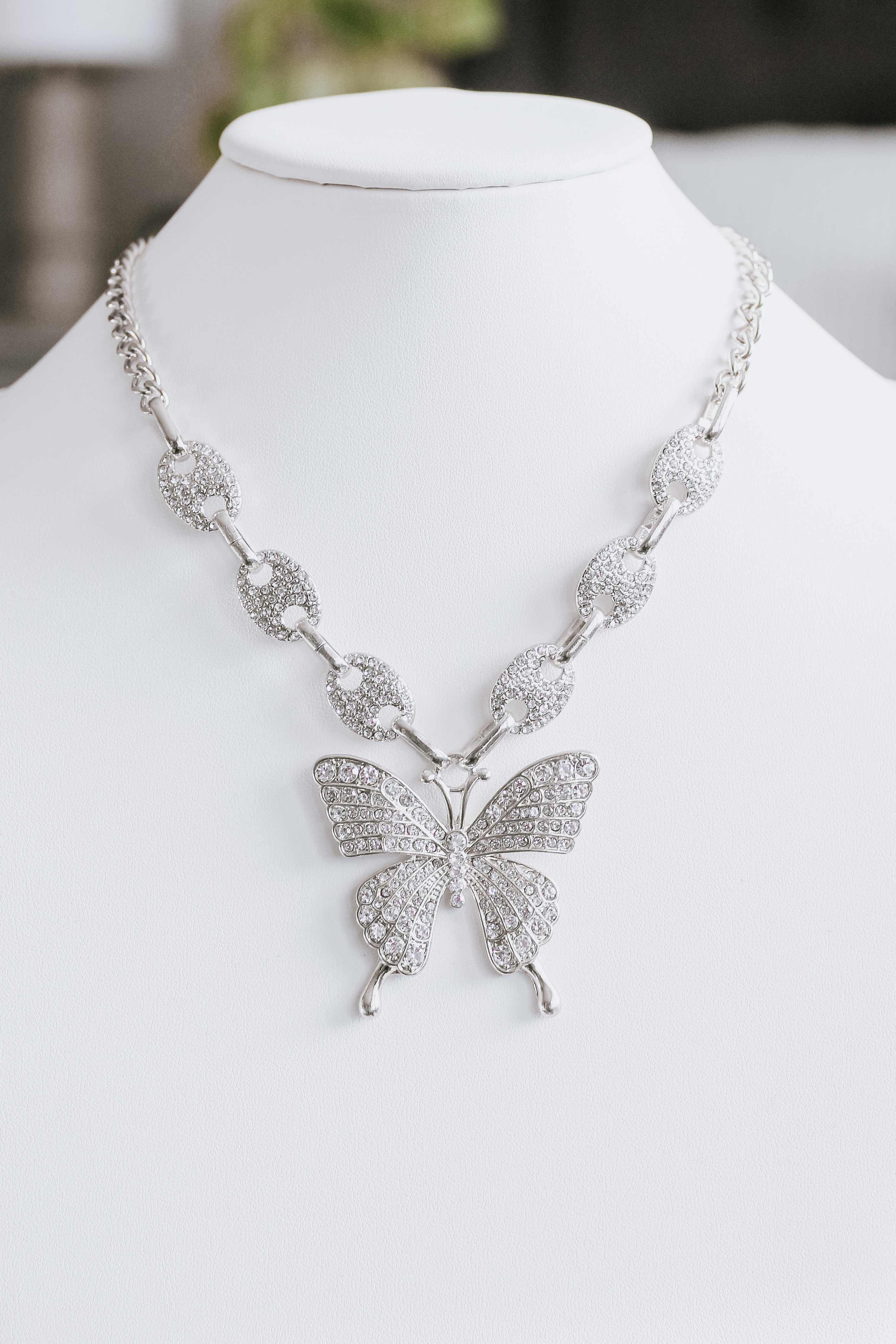 Image of Rhinestone Oval Link Chain with Butterfly Pendant Necklace