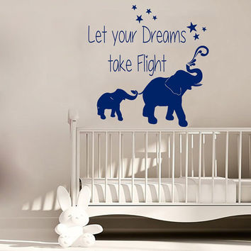 Elephant Wall Decal Quote Let Your Dreams Take Flight Vinyl Decals Stars Art Mural Sticker Bedroom Interior Design Kids Nursery Decor KY104